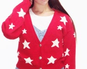 STAR PRINT red cardigan sweater Nautical 80s cropped cotton ramie red white vintage s, m