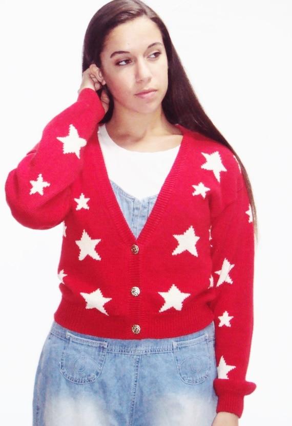 vintage 90s Star print top / cardigan sweater / 90s grunge