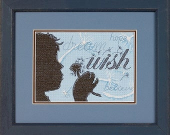Cross Stitch Kit - WISH - Dimensions Dream Believe Hope Counted Cross Stitch Kit silhouette wish cross stitch needlework kit