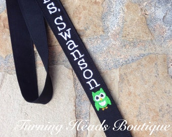 Teacher Lanyard ID Badge Holder with Owl / Personalized / Monogrammed / Teacher Appreciation Gift