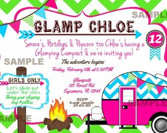 Glamping Camp Birthday Invitation Chevron Camper Bunting Bonfire Hot Pink Turquoise Green Invite Birthday Printable