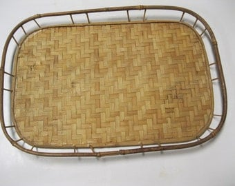 Vintage Natural Bamboo Rattan Wicker Style Woven Serving Tray Perfect For Home Serving Needs, Decor, Crafts or Tray Base For Gift Basket