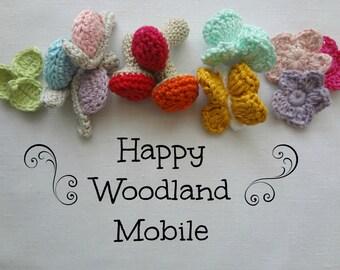 CROCHET PATTERN Happy Woodland Mobile PDF Pattern - crocheted toys, crochet butterfly, crochet snail, crochet mushroom,amigurumi, mobile