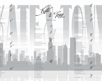 Chicago or other city skyline wedding seating chart board poster DIY 24 hour turnaround silhouette