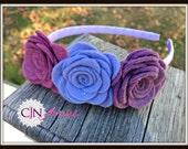 Periwinkle Purple Rose Trio Headband