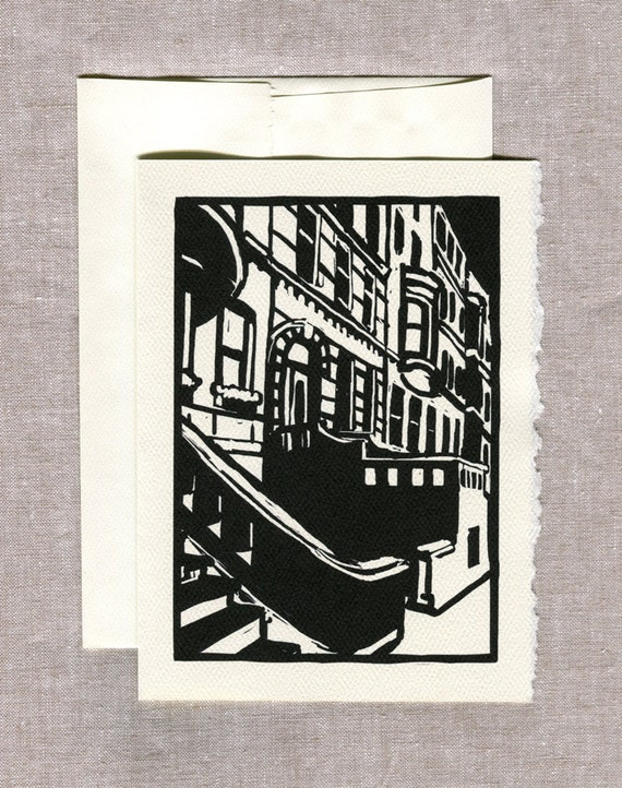 Brownstones Greeting Card - NYC - Woodcut Style - New York Art, NY Art, Architecture Art, City Art, Brooklyn Art, Brick Art, Black and White