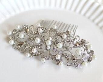 Bridal romantic swarovski pearl headpiece.  Elegant vintage style rhinestone wedding hair comb