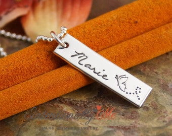 Hand Stamped Necklace - Personalized Mommy Jewelry - Custom Name Tag - Vertical Tag Necklace - My Special One