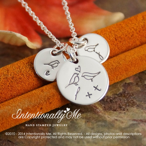 Hand Stamped Mommy Necklace -  Personalized Sterling Silver Jewelry - Tiny Tags - All Together (Necklace with two kids initials)