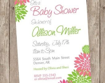 Girl flower baby shower invitation, pink and lime green invitation, flower invite, floral invite, pink and green, flower shower, printable