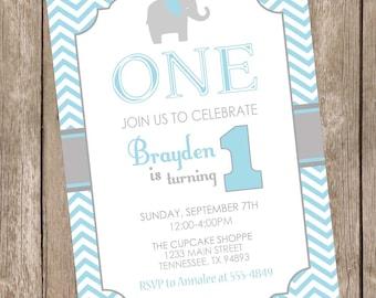 Elephant birthday invitation, elephant 1st birthday invitation, boy elephant birthday invitation, chevron birthday invitation, blue and gray