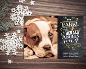 Pet Friendly Photo Holiday Cards - Bark The Herald - Customizable - Quantity 25-100 with matching envelopes