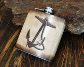 6oz Stainless Steel & Leather Hip Flask [Free Personalization] [Multicolor] [Anchor]
