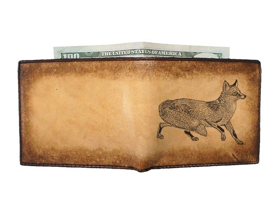Personalized Leather Wallet - Mens Wallet - Handmade Wallet - Fox