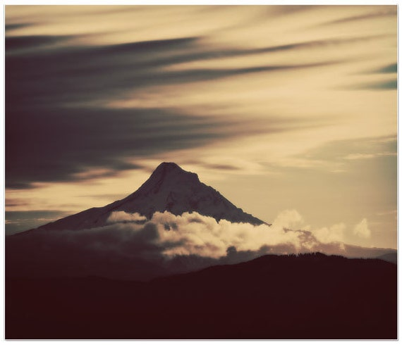 mt hood, mountain photography, clouds, fine art print