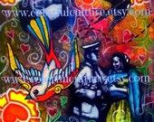 Que Tiempos Aquellos- Print of Original Painting by Laura Gomez on Archival Matte Paper - Maria Feliz - Mexican Art- Mexican Folk Art