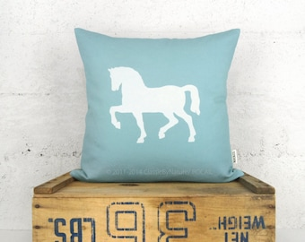 Aqua Blue and White Horse Pillow Cover - 16x16 or 12x18 inches - Cushion, Decorative Pillow Case - Shabby Chic, Cape Cod Home Decor