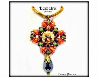 Bead pattern Cross pendant 'Demetra' with Swarovski and Piggy beads SPECIAL PRICE