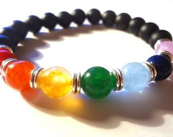Chakra bracelet, Shungite bracelet, 7 Chakra bracelet, Stretch Beaded Bracelet, Mala Yoga Bracelet