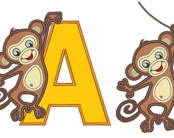 Hanging Monkey, big sister or brother - machine embroidery fill and applique designs - multiple sizes for hoop 4x4, 5x7  INSTANT DOWNLOAD