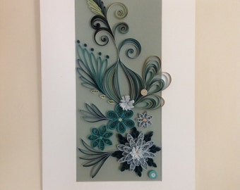 Quilled wall art. Paper quilled art. Quilled hanging. Teal paper art. Paper quilling. Turqoise Wall hanging. Quilling art. Wall art