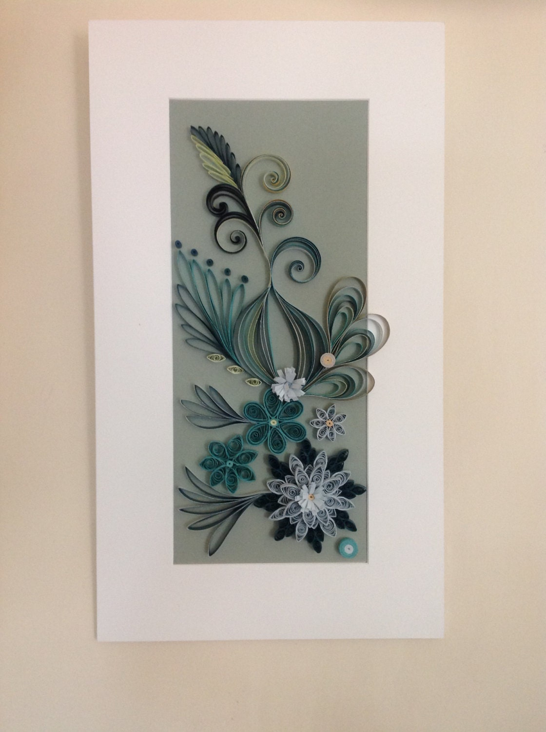 Quilled Wall Art Paper Quilled Art Quilled Hanging Teal