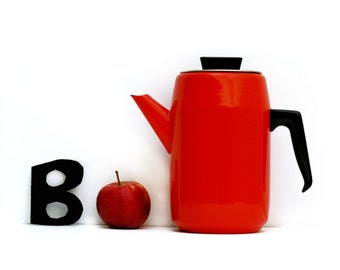 Mid century mordern kitchen,large French vintage enamel teapot or coffee pot,red enamelware Vintage halloween Decor