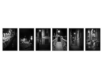 Venice Noir Ultimate Set - Black and White Photography, Venice Photography at Night, Film Noir, Venice Decor - Set of 6 Fine Art Photographs