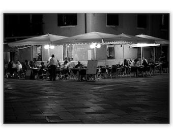 Venice Photography, Black and White Photography, nighttime in Venice, Film Noir, Home Decor Prints, Venice Decor -  Fine Art Photograph B&W