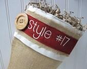 Burlap Personalized Christmas Stocking - Style #17