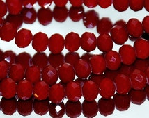 25 pcs 6x4mm Faceted Opaque Deep Red Rondelle Crystals