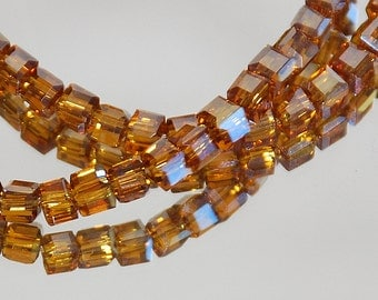 17 pcs 3mm Faceted Amber Cube Beads