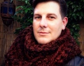 Sequoia Brown Oversized Crochet Infinity Scarf,  Autumn Rustic Colors Chunky Scarf, Winter Fashion Accessories
