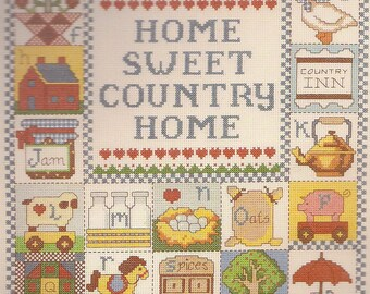 "Sale-Paragon Cross Stitch New Kit-Country ABC Sampler- Americana 14"" x 18""- New Vintage 1985- 14 ct"