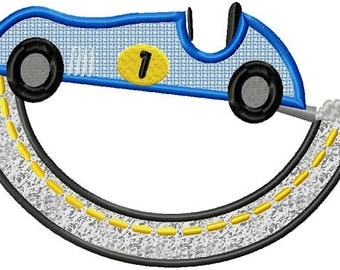 Instant Download Race Car Applique Machine Embroidery File - Handmade embroidery design - Machine Embroidery Design - Digital Design
