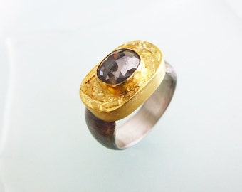 Diamond Ring, 22K solid Gold Oxidized Sterling Silver Ring with Natural Silver grey Diamond, Engagement Ring, Statement Ring