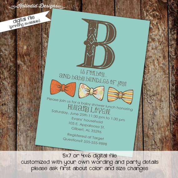 bow tie baby shower invitation little gentleman baby boy shower baptism christening couples shower bash (item 1222) shabby chic invitations