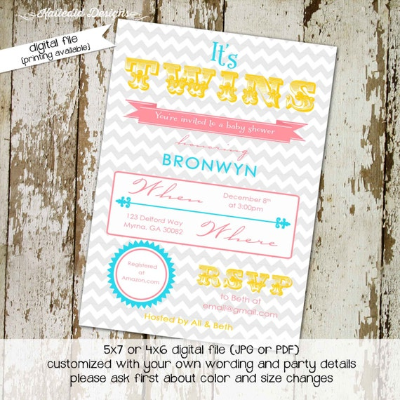 twin baby shower invitation chevron gender neutral gender reveal baby sprinkle diaper couples book baby (item 1512) shbby chic invitations