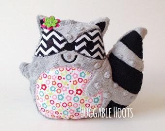 Stuffed Raccoon - Plush Raccoon - Stuffed Animal - Raccoon Plushie - Raccoon Pillow - Woodland Nursery Decor - Personalized Raccoon