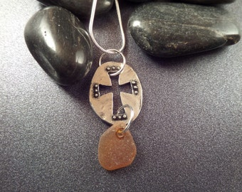 Scottish Sea Glass Necklace with Silvertone Cross and Brown Amber Beach Glass