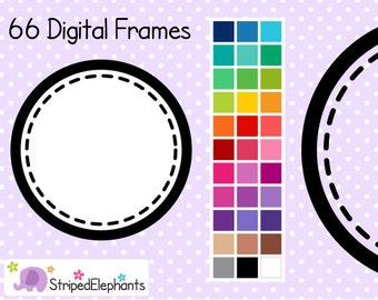 Stitched Circle Digital Frames 1 - Clip Art Frames - Instant Download - Commercial Use