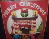 "BUCILLA Kit # 48638 ""Up The Chimney"" Jeweled Felt Panel Christmas XMAS"