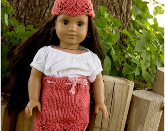 """Lacy Skirt, Capelet and Hat PATTERN for Doll Clothing, 18"""" Doll, Hand Knit Skirt-Features Lace and Pretty Trim"""