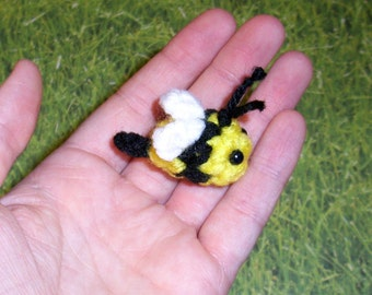 Micro Mini Crochet Honey Bee Plushie - Baby Bumblebee Plush Miniature Cute Bug Insect, Made to Order