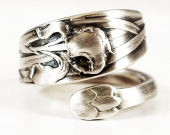 Iris Ring, Iris Flower Ring, Sterling Silver Spoon Ring, Art Nouveau Antique Whiting, Handcrafted Gift for Mom, Adjustable Ring Size (6042)