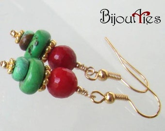 Red Coral,Green Turquoise,christmas jewelry, Holidays Earrings,Vermeil,Gold Plated.