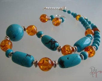 Turquoise,Amber, sterling silver, Adjustable necklace, dangle earrings, jewelry set.