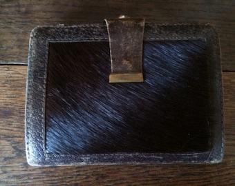 Vintage English Brown Leather Purse circa 1960-70's / English Shop