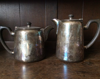 Vintage English Silver Plated EPNS two pint tea and coffee pots circa 1950's / English Shop