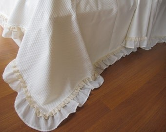 Coverlet summer blanket bedspread Matelasse -Oversized Super KING bed cover cream Ivory silky cotton eyelet lace ruffle shabby chic bedding